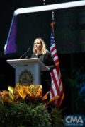 Nashville Mayor Megan Barry calls for the community to stand together in support of the victims in Las Vegas during a candlelight vigil Monday at Ascend Amphitheater in Nashville.  Photo Credit: Hunter Berry / CMA