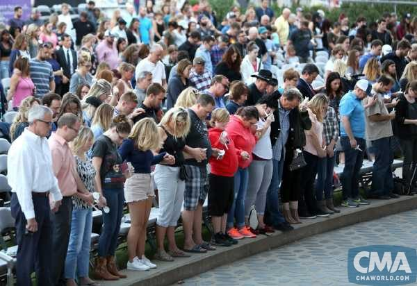 Hundreds of Nashvillians gather inside Ascend Amphitheater Monday during a candlelight vigil in honor of the Las Vegas shooting victims.
